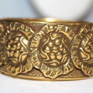 ATQ Edwardian Embossed Brass Wide Bangle Bracelet